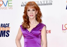 "FILE - In this May 5, 2017 file photo, Kathy Griffin attends the 24th Annual Race to Erase MS Gala in Beverly Hills, Calif. Griffin's video holding what was meant to look like President Donald Trump's severed head, has resulted in a lost endorsement deal and at least one club engagement for the comedian. Griffin has apologized, conceding that the brief video, which she originally described as an ""artsy fartsy statement"" mocking the commander in chief, was ""too disturbing"" and wasn't funny.  (Photo by Richard Shotwell/Invision/AP, File)"