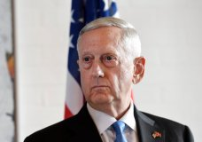 US Secretary of Defense Jim Mattis, pauses during a  press conference after a meeting , in Copenhagen, Denmark, Tuesday, May 9, 2017. Mattis said he had open and useful discussions with Turkish officials Tuesday, and said the two countries are working out differences over America's continuing support for Syria Kurds as the fight against Islamic State militants moves closer to group's headquarters in Raqqa. (Stine Tidsvilde/Ritzau Foto via AP)