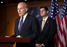 "Homeland Security Secretary John Kelly, left, joins House Speaker Paul Ryan, R-Wis., as the Republican-led House pushes ahead on legislation to crack down on illegal immigration, during a news conference at the Capitol in Washington, Thursday, June 29, 2017. One bill would strip federal funds from ""sanctuary"" cities that shield residents from federal immigration authorities, while a separate bill would stiffen punishments on people who re-enter the U.S. Illegally. (AP Photo/J. Scott Applewhite)"