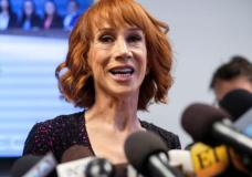 Comedian Kathy Griffin speaks at a news conference in Woodland Hills, Los Angeles, California, U.S., June 2, 2017. REUTERS/Ringo Chiu