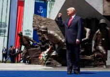 President Donald Trump arrives to deliver a speech at Krasinski Square at the Royal Castle, Thursday, July 6, 2017, in Warsaw. (AP Photo/Evan Vucci)