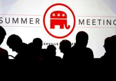 People talk before the start of the meeting of the standing committee on rules at the Republican National Committee summer meeting, Thursday, Aug. 24, 2017, in Nashville, Tenn. (AP Photo/Mark Humphrey)
