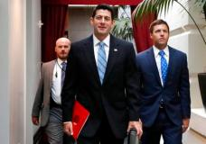 House Speaker Paul Ryan of Wisconsin, center, arrives for a meeting with House Republicans, Wednesday, Sept. 6, 2017, on Capitol Hill in Washington. (AP Photo/Jacquelyn Martin)
