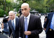 FILE - In this Sept. 21, 2015, file photo, James Blake arrives at New York's City Hall. A 2015 incident where former pro tennis star Blake was mistakenly arrested in New York City has become the subject of a disciplinary trial for the arresting officer accused of using excessive force. The 37-year-old Blake is expected to testify at a proceeding starting Tuesday, Sept. 19, 2017. (AP Photo/Seth Wenig, File)