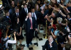 House Republican Whip Steve Scalise walks with his wife Jennifer, left, as he leaves the House chamber in the Capitol in Washington, Thursday, Sept. 28, 2017. To hugs and a roaring bipartisan standing ovation, Scalise returned to the House, more than three months after a baseball practice shooting left him fighting for his life.( AP Photo/Jose Luis Magana)