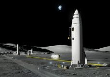 This artist's rendering made available by Elon Musk on Friday, Sept. 29, 2017 shows SpaceX's new mega-rocket design on the Earth's moon. With the 350-foot-tall spacecraft, Musk announced that his private space company aims to launch two cargo missions to Mars in 2022. (SpaceX via AP)