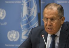 Russian Foreign Minister Sergey Lavrov speaks during a news conference at United Nations headquarters, Friday, Sept. 22, 2017. (AP Photo/Mary Altaffer)