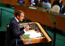 French President Emmanuel Macron addresses the United Nations General Assembly at U.N. headquarters, Tuesday, Sept. 19, 2017. (AP Photo/Jason DeCrow)