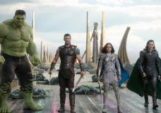 "This image released by Marvel Studios shows the Hulk, from left, Chris Hemsworth as Thor, Tessa Thompson as Valkyrie and Tom Hiddleston as Loki in a scene from, ""Thor: Ragnarok."" (Marvel Studios via AP)"