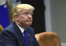 President Donald Trump pauses as the media departs after he spoke in the Roosevelt Room of the White House in Washington, Tuesday, Nov. 28, 2017, during a meeting with Republican congressional leaders. (AP Photo/Susan Walsh)