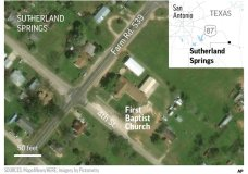 Satellite image of Sutherland Springs, First Baptist Church, Texas. ; 2c x 4 inches; 96.3 mm x 101 mm;