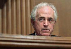 """In this Dec. 5, 2017 file photo, Sen. Bob Corker, R-Tenn., listens during a meeting of the Senate Banking Committee on Capitol Hill in Washington. The Senate Finance Committee chairman on Monday rejected as """"categorically false"""" a report that Republican Sen. Bob Corker of Tennessee was responsible for a provision in the final tax bill that could help him financially. (AP Photo/Susan Walsh)"""