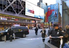 Police secure Eighth Avenue outside the Port Authority Bus Terminal following an explosion near New York's Times Square on Monday, Dec. 11, 2017. Police said a man with a pipe bomb strapped to him set off the crude device in an underground passageway under 42nd Street between Seventh and Eighth Avenues. (AP Photo/Chuck Zoeller)