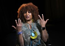 "FILE - This file photo taken Aug. 25, 2017, shows actress Pam Grier during an interview in Washington. Grier, the star of gritty 1970s Blaxploitation movies like ""Foxy Brown"" and ""Coffy,"" is scheduled to be a guest at the 2018 Las Cruces International Film Festival. Grier will join Cybill Shepherd, star of the television series ""Moonlighting,"" at the film festival which begins March 7, 2018. (AP Photo/Jacquelyn Martin,File)"