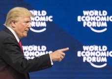 Donald Trump, President of the United States of America, addresses a plenary session during the annual Meeting of the World Economic Forum, WEF, in Davos, Switzerland, Friday, Jan. 26, 2018. (Laurent Gillieron/Keystone via AP)