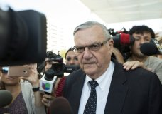 FILE- In this July 6, 2017, file photo, former Sheriff Joe Arpaio leaves the federal courthouse in Phoenix, Ariz. Arpaio is running for the Arizona U.S. Senate seat being vacated by Republican Sen. Jeff Flake. (AP Photo/Angie Wang, File)