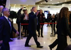 President Donald Trump waves as he walks to a dinner with European business leaders at the World Economic Forum, Thursday, Jan. 25, 2018, in Davos. (AP Photo/Evan Vucci)