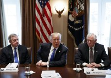 In this Jan. 9, 2017, photo, Sen. Dick Durbin, D-Ill., left, and Rep. Steny Hoyer, D-Md. listen as President Donald Trump speaks during a meeting with lawmakers on immigration policy in the Cabinet Room of the White House in Washington. Bargainers seeking a bipartisan immigration accord planned talks as soon as Wednesday as President Donald Trump and leading lawmakers sought to parlay an extraordinary White House meeting into momentum for resolving a politically blistering issue.(AP Photo/Evan Vucci)