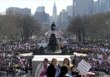 Thousands gather during the Women's March in Philadelphia on Saturday, Jan. 20, 2018. The march is among dozens of rallies being held around the country. The activists are hoping to create an enduring political movement that will elect more women to government office. (David Maialetti/The Philadelphia Inquirer via AP)
