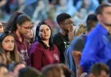 Marjory Stoneman Douglas High School students are recognized before a CNN town hall broadcast, Wednesday, Feb. 21, 2018, at the BB&T Center, in Sunrise, Fla. (Michael Laughlin/South Florida Sun-Sentinel via AP)