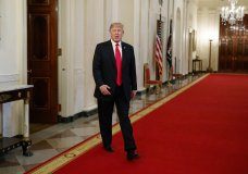 President Donald Trump arrives to speak to the White House Opioid Summit in the East Room of the White House, Thursday, March 1, 2018, in Washington. (AP Photo/Evan Vucci)