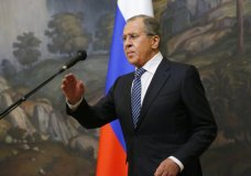 Russian Foreign Minister Sergey Lavrov prepares to speak in Moscow, Russia, Thursday, March 29, 2018. Russia's foreign minister says Moscow will expel the same number of diplomats from the nations that have expelled Russian diplomats over the poisoning of an ex-Russian spy in Britain. (AP Photo/Alexander Zemlianichenko)