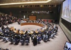 The United Nations Security Council meet and hear remarks from U.N. Special Envoy to Syria Staffan de Mistura via video broadcast, Monday April 9, 2018 at U.N. headquarters. (AP Photo/Bebeto Matthews)