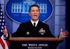 FILE - In this Jan. 16, 2018, file photo, White House physician Dr. Ronny Jackson speaks to reporters during the daily press briefing in the Brady press briefing room at the White House, in Washington. Now it's Washington's turn to examine Jackson. The doctor to Presidents George W. Bush, Barack Obama and now Donald Trump is an Iraq War veteran nominated to head the Department of Veterans Affairs. (AP Photo/Manuel Balce Ceneta, File)