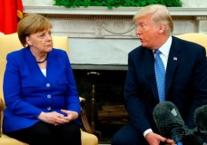 U.S. President Donald Trump meets with German Chancellor Angela Merkel in the Oval Office of the White House, Friday, April 27, 2018, in Washington. (AP Photo/Evan Vucci)