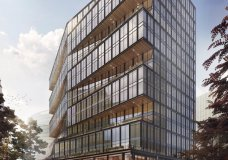 This undated photo provided Tuesday, May 1, 2018, by Amazon shows an architectural rendering of a building proposed to be built in Boston's Seaport District, promising an additional 2,000 technology jobs in the city and to be occupied 2021. (WS Development/Amazon via AP)