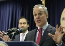 FILE - In this March 21, 2016, file photo, New York Attorney General Eric Schneiderman speaks during a news conference in New York. Schneiderman, who had taken on high-profile roles as an advocate for women's issues and an antagonist to the policies of President Donald Trump, announced late Monday, May 7, 2018, that he would be resigning from office hours after four women he was romantically involved with accused him of physical violence in accounts published by The New Yorker. (AP Photo/Seth Wenig, File)