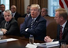 President Donald Trump speaks during a cabinet meeting at the White House, Wednesday, May 9, 2018, in Washington. From left, Deputy Secretary of State John Sullivan, Trump, and Deputy Secretary of Defense Patrick Shanahan. (AP Photo/Evan Vucci)