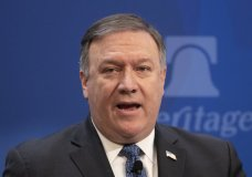 """Secretary of State Mike Pompeo speaks at the Heritage Foundation, a conservative public policy think tank, in Washington, Monday, May 21, 2018. Pompeo is threatening to place """"the strongest sanctions in history"""" on Iran if its government doesn't change course. (AP Photo/J. Scott Applewhite)"""