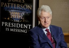 "In this Monday, May 21, 2018, photo, former President Bill Clinton listens during an interview about a novel he wrote with James Patterson, ""The President is Missing,"" in New York. (AP Photo/Bebeto Matthews)"