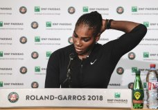 In this photo provided by the French Tennis Federation (FFT) Serena Williams, of the U.S, answers journalists at the Roland Garros stadium in Paris, Monday, June 4, 2018. Williams called off her Grand Slam comeback because of a chest muscle injury on Monday, pulling out of the French Open shortly before she was supposed to play Maria Sharapova in the fourth round. (Pauline Ballet / FFT via AP)