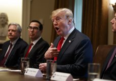 President Donald Trump speaks during a meeting with Republican members of Congress on immigration in the Cabinet Room of the White House, Wednesday, June 20, 2018, in Washington. From left, Sen. John Hoeven, R-N.D., Treasury Secretary Steve Mnuchin, Trump, and Rep. Mac Thornberry, R-Texas. (AP Photo/Evan Vucci)
