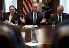 Secretary of State Mike Pompeo, left, and Secretary of Defense Jim Mattis, right, listen as President Donald Trump speaks during a cabinet meeting at the White House, Thursday, June 21, 2018, in Washington. (AP Photo/Evan Vucci)