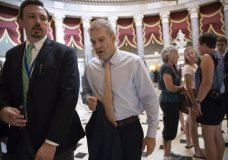 Rep. Jim Jordan, R-Ohio, walks to the House chamber as he prepares to file articles of impeachment against Deputy Attorney General Rod J. Rosenstein, on Capitol Hill in Washington, Thursday, July 26, 2018. (AP Photo/J. Scott Applewhite)