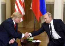 U.S. President Donald Trump, left and Russian President Vladimir Putin shake hands during their meeting in the Presidential Palace in Helsinki, Monday, July 16, 2018. Trump and Putin arrived Monday at Helsinki's presidential palace for a long-awaited summit, hours after Trump blamed the United States, and not Russian election meddling or its annexation of Crimea, for a low-point in U.S.-Russia relations. (Heikki Saukkomaa/Lehtikuva via AP)