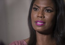 Television personality and former White House staffer Omarosa Manigault Newman speaks during an interview with The Associated Press, Tuesday, Aug. 14, 2018, in New York. (AP Photo/Mary Altaffer)