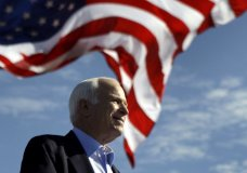 FILE - In this Nov. 3, 2008, file photo, Republican presidential candidate Sen. John McCain, R-Ariz., speaks at a rally in Tampa, Fla. Aide says senator, war hero and GOP presidential candidate McCain died Saturday, Aug. 25, 2018. He was 81. (AP Photo/Carolyn Kaster, File)