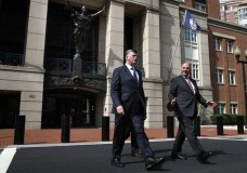 Kevin Downing, left, and Thomas Zehnle, with the defense team for Paul Manafort, leave federal court during the second day of jury deliberations in the trial of the former Trump campaign chairman, in Alexandria, Va., Friday, Aug. 17, 2018. (AP Photo/Jacquelyn Martin)