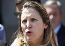 Canada's Foreign Affairs Minister Chrystia Freeland speaks to the media during a break in trade talk negotiations at the Office of the United States Trade Representative, Thursday, Aug. 30, 2018, in Washington. (AP Photo/Jacquelyn Martin)