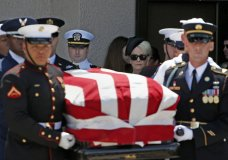 Cindy McCain, back right, walks with her son Jack McCain, back left, as the follow the military honor guard carrying the casket of Sen. John McCain, R-Ariz., after a memorial service at North Phoenix Baptist Church Thursday, Aug. 30, 2018, in Phoenix. (AP Photo/Ross D. Franklin)