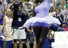 Serena Williams twirls after defeating Carina Witthoeft, of Germany, during the second round of the U.S. Open tennis tournament, Wednesday, Aug. 29, 2018, in New York. (AP Photo/Julio Cortez)
