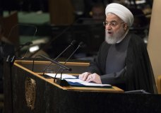 Iranian President Hassan Rouhani addresses the 73rd session of the United Nations General Assembly, Tuesday, Sept. 25, 2018 at U.N. headquarters. (AP Photo/Mary Altaffer)