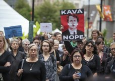 A crowd gathers at Dilworth Plaza by the city hall for a walkout in solidarity with Christine Blasey Ford, who accused Brett Kavanaugh of sexual assault, in Philadelphia on Monday, Sept. 24, 2018. Survivors of sexual assault shared their stories with the crowd, and then led a march around City Hall. The walkout is part of a nationwide movement called for by Tarana Burke, the founder of the #MeToo movement. (Heather Khalifa/The Philadelphia Inquirer via AP)