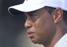 Tiger Woods of the United States looks on during a hot afternoon in the first round of the BMW Championship golf tournament at Aronimink Golf Club, Thursday, Sept. 6, 2018, in Newtown Square, Pa. (Jose F. Moreno/The Philadelphia Inquirer via AP)