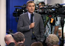 """FILE - In this Aug. 2, 2018 file photo, CNN correspondent Jim Acosta does a stand up before the daily press briefing at the White House in Washington. Acosta says President Donald Trump's attacks on the media must stop or there's a risk someone will get hurt. He is one of the most visible members of the press corps covering Trump and a target for verbal abuse at the president's rallies. He said Monday that Trump has, """"normalized and sanitized nastiness and cruelty"""" in an unprecedented way. (AP Photo/Evan Vucci, File)"""