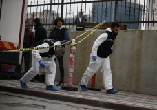 Turkish police crime scene investigators, looking for possible clues into the killing of Saudi journalist Jamal Khashoggi, walk toward an underground car park, where authorities Monday found a vehicle belonging to the Saudi consulate, in Istanbul, Tuesday, Oct. 23, 2018. Saudi officials murdered Khashoggi in their Istanbul consulate after plotting his death for days, Turkey's President Recep Tayyip Erdogan said Tuesday, contradicting Saudi Arabia's explanation that the writer was accidentally killed. (AP Photo/Emrah Gurel)